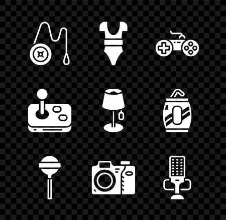 Set Yoyo toy, Swimsuit, Gamepad, Lollipop, Photo camera, Microphone, Joystick and Floor lamp icon. Vector Ilustracja