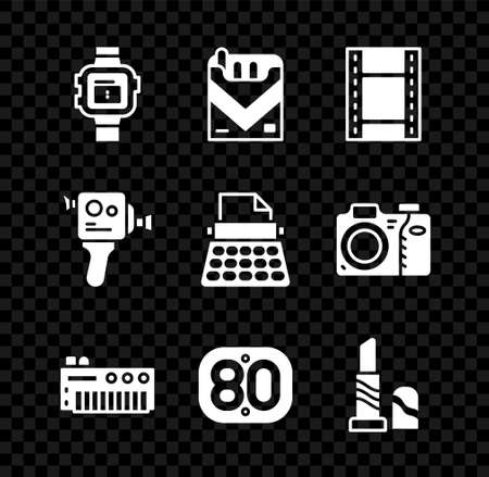 Set Wrist watch, Cigarettes pack box, Play Video, Music synthesizer, 80s Retro, Lipstick, cinema camera and typewriter icon. Vector