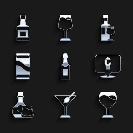 Set Champagne bottle, Martini glass, Wine, Alcohol or beer bar location, Whiskey and, Beer can, with and icon. Vector