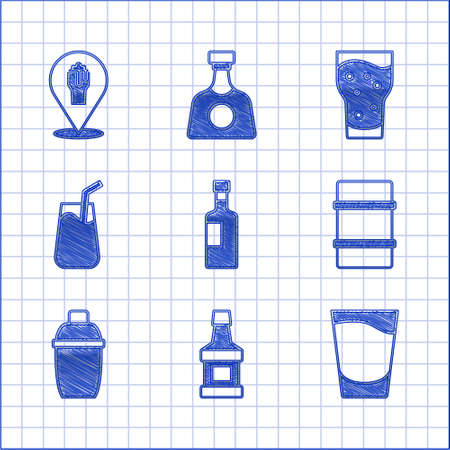 Set Wine bottle, Whiskey, Shot glass, Metal beer keg, Cocktail shaker, Glass of and Alcohol or bar location icon. Vector Ilustracja