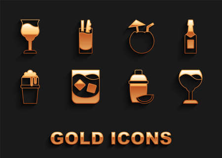 Set Glass of whiskey, Champagne bottle, Wine glass, Cocktail shaker with lime, beer, Coconut cocktail, and Bloody Mary icon. Vector