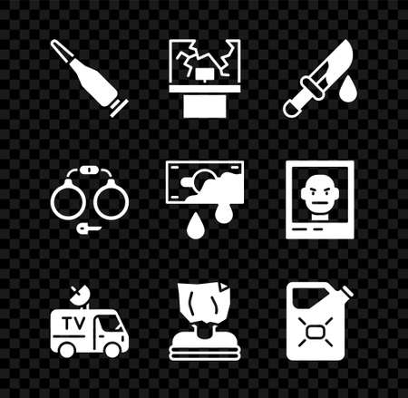 Set Bullet, Broken window, Bloody knife, TV News car, Kidnaping, Canister fuel, Handcuffs and money icon. Vector Ilustracja