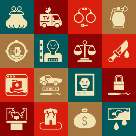 Set Bloody money, Lock picks for lock picking, knife, Handcuffs, Suspect criminal, Headshot, Wallet and Scales of justice icon. Vector