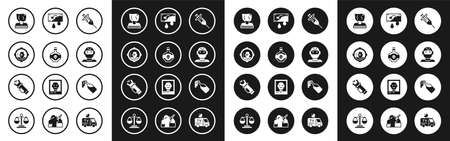 Set Syringe, Poison bottle, Headshot, Kidnaping, Thief mask, Bloody money, Cocktail molotov and Police electric shocker icon. Vector