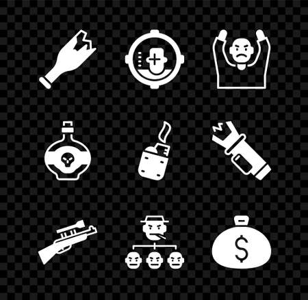 Set Broken bottle as weapon, Headshot, Thief surrendering hands up, Sniper rifle with scope, Mafia, Money bag, Poison and Lighter icon. Vector
