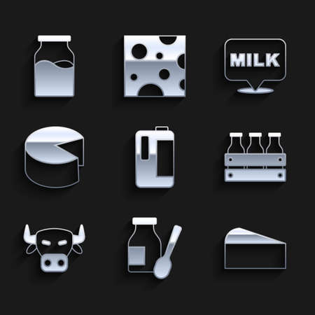 Set Milk in plastic bottle, Drinking yogurt, Cheese, Bottled milk wooden box, Cow head, Lettering and with icon. Vector