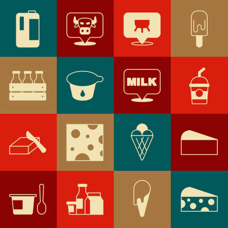 Set Cheese, Milkshake, Udder, Yogurt container, Bottled milk wooden box, plastic bottle and Lettering icon. Vector Ilustracja