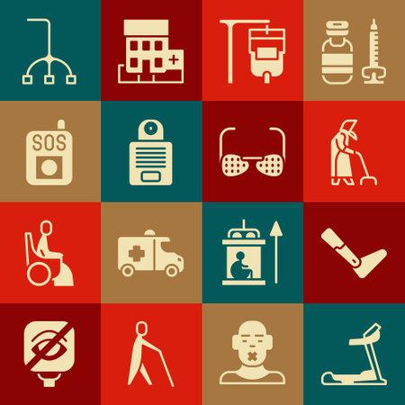 Set Treadmill machine, Prosthesis leg, Grandmother, IV bag, Intercom, Press SOS button, Walking stick cane and Blind glasses icon. Vector Ilustracja