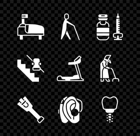 Set Hospital bed, Blind human holding stick, Syringe, Prosthesis leg, Hearing aid, Dental implant, Disabled elevator and Treadmill machine icon. Vector