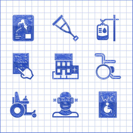 Set Medical hospital building, Deaf, Separated toilet for disabled, Wheelchair, Electric wheelchair, Braille, IV bag and X-ray shots icon. Vector