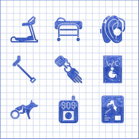 Set Prosthesis hand, Press SOS button, X-ray shots, Separated toilet for disabled, Dog in wheelchair, Walking stick cane, Hearing aid and Treadmill machine icon. Vector
