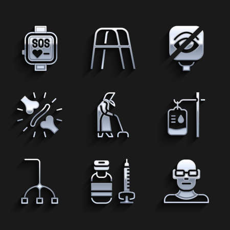 Set Grandmother, Syringe, Poor eyesight, IV bag, Walking stick cane, Joint pain, knee pain, Blindness and Smart watch icon. Vector