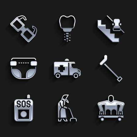 Set Emergency car, Grandmother, Man without legs sitting wheelchair, Walking stick cane, Press SOS button, Adult diaper, Disabled elevator and Eyeglasses icon. Vector Ilustracja