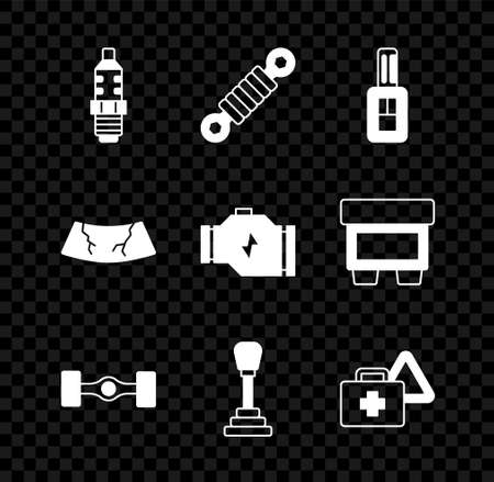 Set Car spark plug, Shock absorber, key with remote, Chassis car, Gear shifter, First aid kit and warning triangle, Broken windshield and Check engine icon. Vector