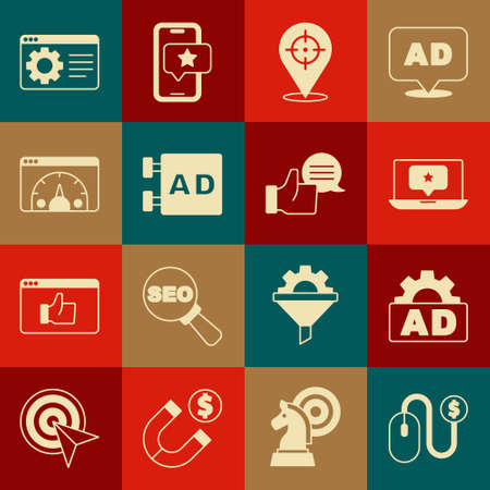 Set Advertising, Laptop with star, Target, Website statistic, Browser setting and Customer product rating icon. Vector