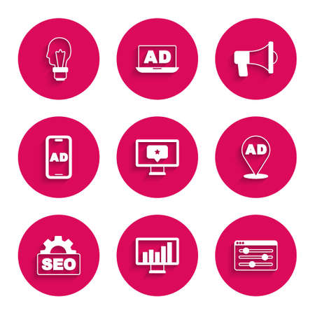 Set Monitor with star, graph chart, Browser setting, Advertising, SEO optimization, Megaphone and Light bulb concept of idea icon. Vector