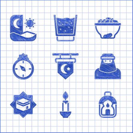 Set Star and crescent, Burning candle, Ramadan Kareem lantern, Muslim woman niqab, Kaaba mosque, Qibla, Date fruit bowl and fasting icon. Vector