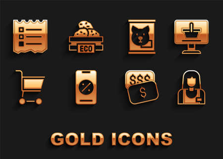 Set Percent discount and mobile, Shopping cart on computer, Seller, New price tag dollar, Canned food, list and Wooden box for fruits icon. Vector