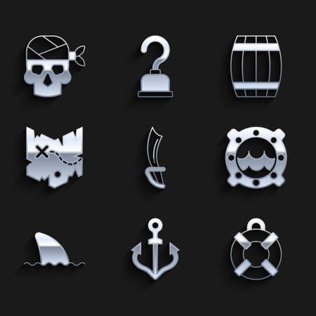 Set Pirate sword, Anchor, Lifebuoy, Ship porthole with seascape, Shark fin in ocean wave, treasure map, Wooden barrel and captain icon. Vector