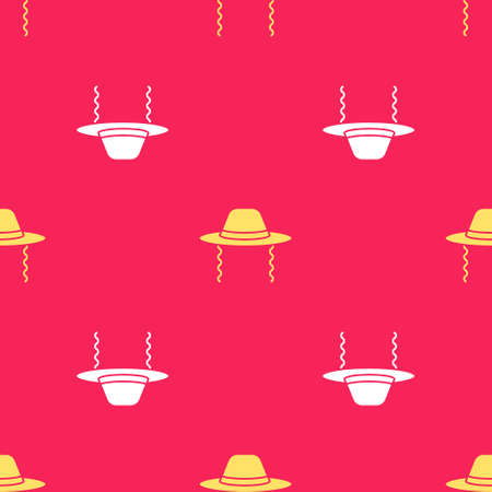 Yellow Orthodox jewish hat with sidelocks icon isolated seamless pattern on red background. Jewish men in the traditional clothing. Judaism symbols. Vector