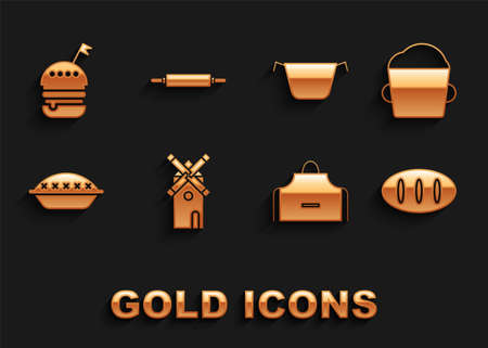 Set Windmill, Bakery bowl dough, Bread loaf, Kitchen apron, Homemade pie, Cooking pot, Burger and Rolling pin icon. Vector