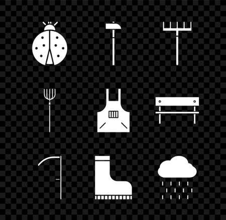 Set Ladybug, Hammer, Garden rake, Scythe, Waterproof rubber boot, Cloud with rain, pitchfork and Kitchen apron icon. Vector