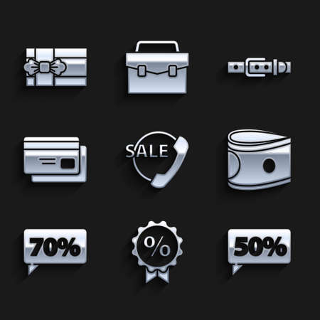 Set Telephone 24 hours support, Discount percent tag, Fifty discount, Stacks paper money cash, Seventy, Credit card, Leather belt and Gift box icon. Vector Vetores