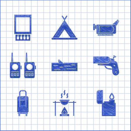 Set Wooden log, Campfire and pot, Lighter, Flare gun pistol, Suitcase, Walkie talkie, Cinema camera and Open matchbox matches icon. Vector