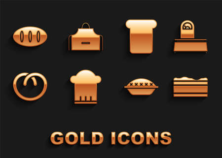 Set Chef hat, Scales, Brownie chocolate cake, Homemade pie, Pretzel, Bread toast, loaf and Kitchen apron icon. Vector