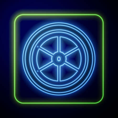 Glowing neon Bicycle wheel icon isolated on blue background. Bike race. Extreme sport. Sport equipment. Vector