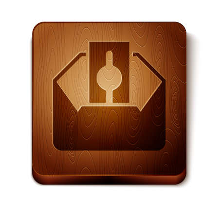 Brown Donate or pay your zakat as muslim obligatory icon isolated on white background. Muslim charity or alms in ramadan kareem before eid al-fir. Wooden square button. Vector