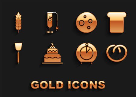 Set Cake, Bread toast, Pretzel, Kitchen timer, Spatula, Cookie or biscuit with chocolate, Cereals rice, wheat, corn, oats, rye and Blender icon. Vector