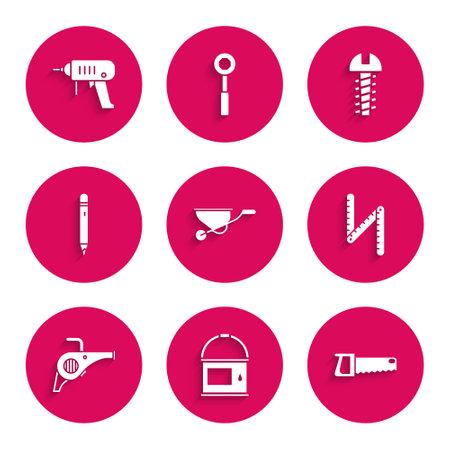Set Wheelbarrow, Paint bucket, Hand saw, Folding ruler, Leaf garden blower, Pencil with eraser, Metallic screw and Electric drill machine icon. Vector