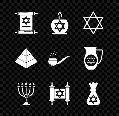 Set Torah scroll, Burning candle in candlestick with star of david, Star David, Hanukkah menorah, Jewish money bag, Egypt pyramids and Smoking pipe smoke icon. Vector Vektorové ilustrace