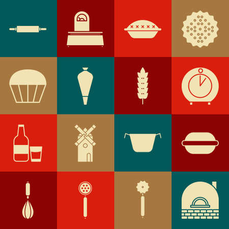 Set Brick stove, Macaron cookie, Kitchen timer, Homemade pie, Pastry bag for decorate cakes, Muffin, Rolling pin and Cereals with rice, wheat, corn, oats, rye icon. Vector