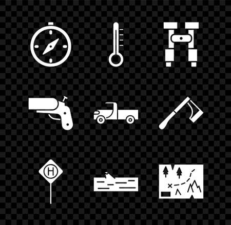 Set Compass, Meteorology thermometer, Binoculars, Parking, Wooden, Folded map with location, Flare gun pistol and Pickup truck icon. Vector