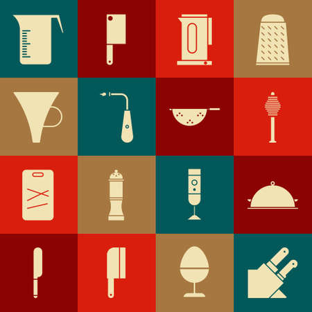 Set Knife, Covered with a tray of food, Honey dipper stick, Kettle handle, Long electric lighter, Funnel or filter, Measuring cup and Kitchen colander icon. Vector