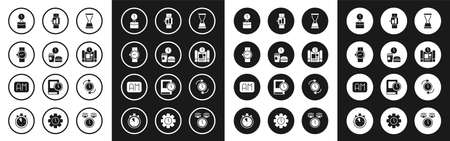 Set Old hourglass with sand, Fast food time, Wrist watch, Work, Project plan, Smartwatch, Clock arrow and Morning icon. Vector