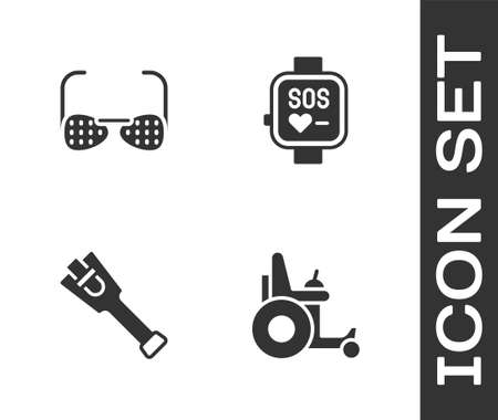 Set Electric wheelchair, Blind glasses, Prosthesis leg and Smart watch icon. Vector