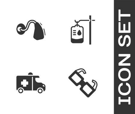 Set Eyeglasses, Hearing aid, Emergency car and IV bag icon. Vector Ilustracja