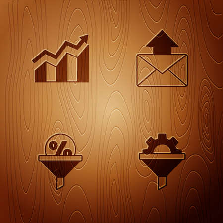 Set Sales funnel with gear, Financial growth increase, Lead management and Mail and e-mail on wooden background. Vector