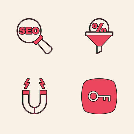 Set Key, SEO optimization, Lead management and Magnet icon. Vector