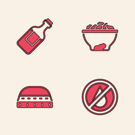 Set No water, Bottle of, Date fruit in bowl and Muslim hat for prayer icon. Vector Ilustracja