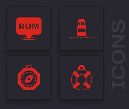 Set Lifebuoy, Alcohol drink Rum, Lighthouse and Compass icon. Vector