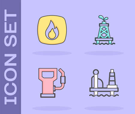Set Oil platform in the sea, Fire flame, Petrol gas station and rig icon. Vector