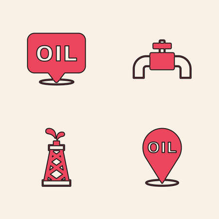Set Refill petrol fuel location, Word oil, Metallic pipes and valve and Oil rig icon. Vector