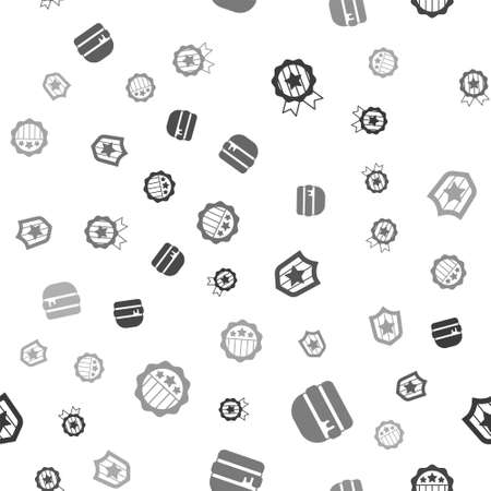 Set Medal with star, Burger, Shield stars and USA Independence day on seamless pattern. Vector
