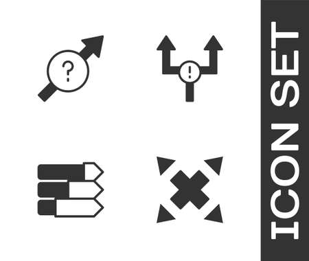 Set Many ways directional arrow, Arrow, Pie chart infographic and icon. Vector