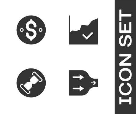 Set Arrow, Dollar symbol, Old hourglass with sand and Financial growth increase icon. Vector