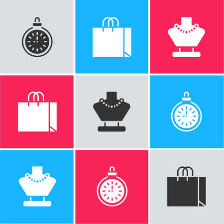 Set Pocket watch, Shopping bag jewelry and Necklace on mannequin icon. Vector Ilustracja